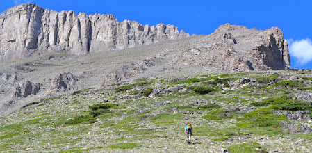 Photo: 2016 - Where the green ends, you either scramble up to that saddle on the shoulder, or go right and find a game trail that takes you around the cliffs to the back. I've always gone up, rather than around. See next photo.