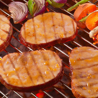 Grilled Ham Steaks with Apricot Glaze.