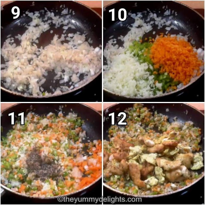 step by step collage of stir frying the vegetables, chicken & scrambled eggs.