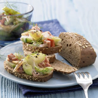 Open-Faced Cucumber and Ham Sandwiches