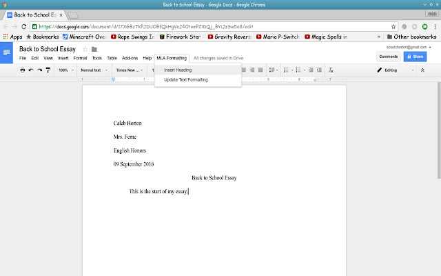 mla formatting google docs add on