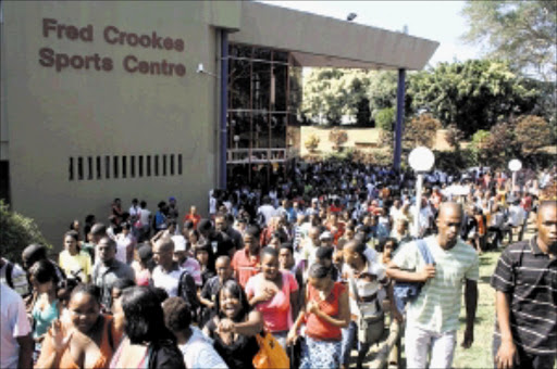 STUDENTS RETURN: Durban University of Technology opened for the second term yesterday. The institution has been beset by problems after students protested against lack of accommodation and expensive food. Pic: THULI DLAMINI. 06/04/2010. © Sowetan.