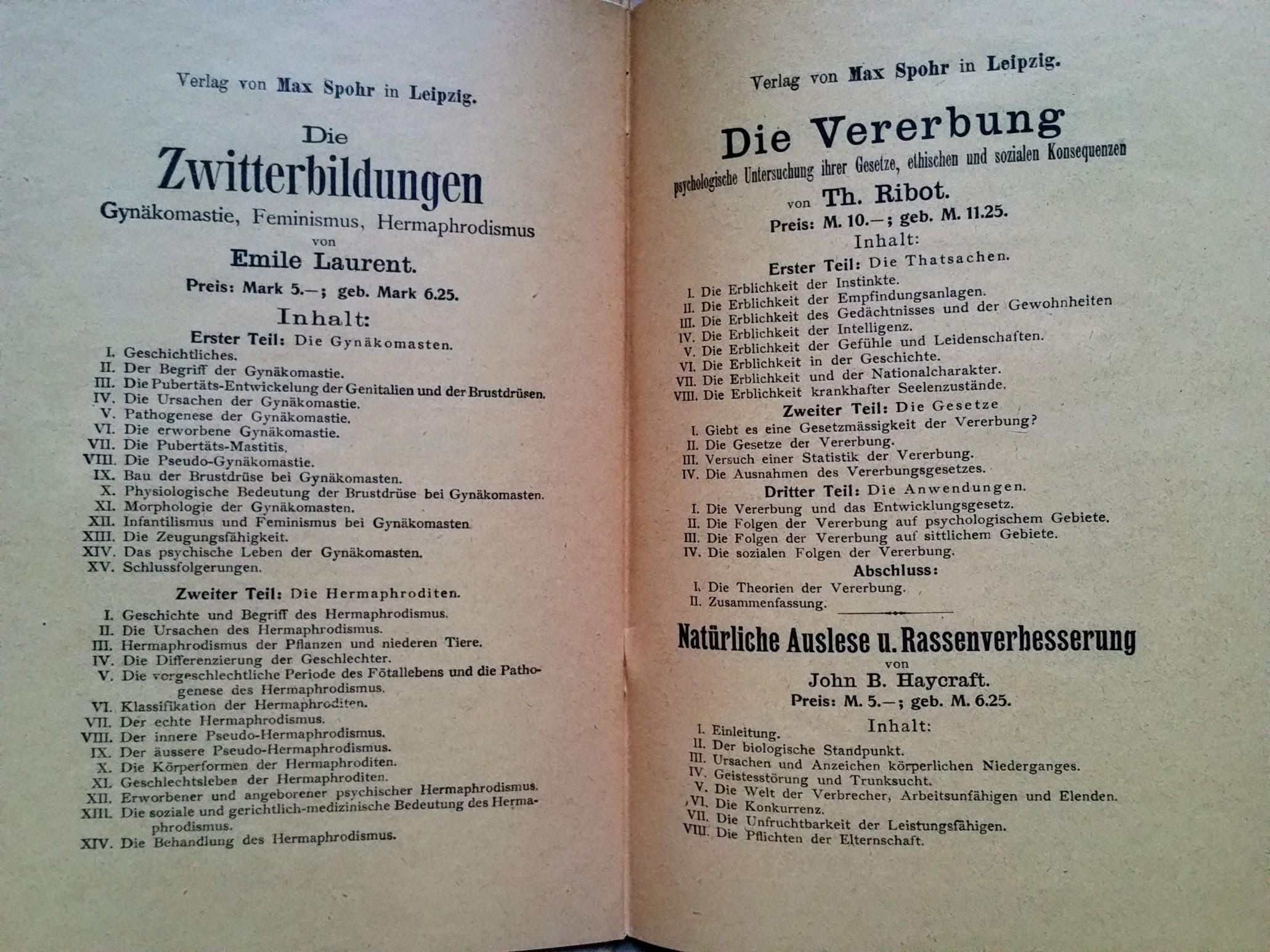 Die Vorbeugung der Empfängniss aus Ehenoth - 1892 - Buchkatalog Verlag Max Spohr in Leipzig