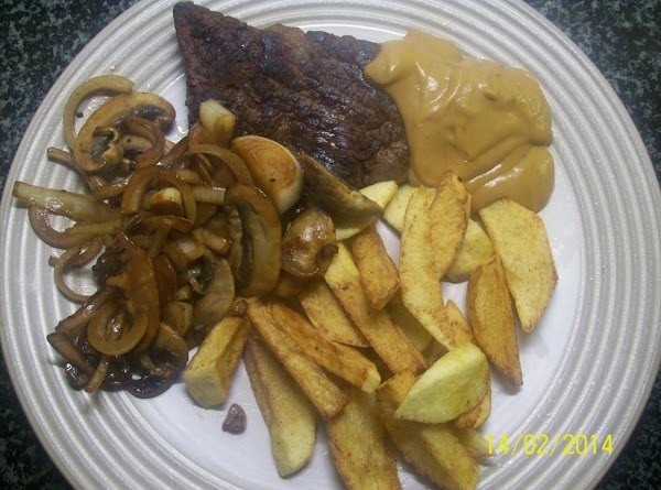 Steak And Chips  With All The Trimings. Recipe