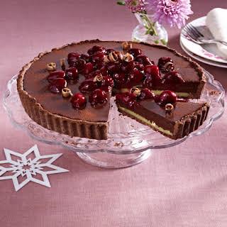 Chocolate Hazelnut Tart with Cherries.