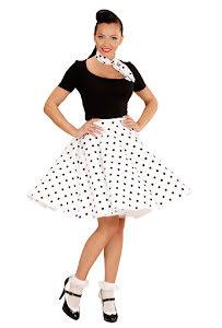 50-tals kjol med scarf, prickig
