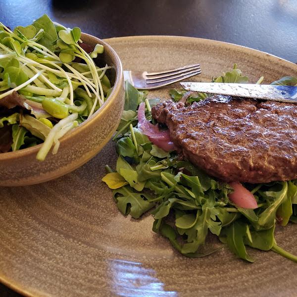 Waygu burger and salad