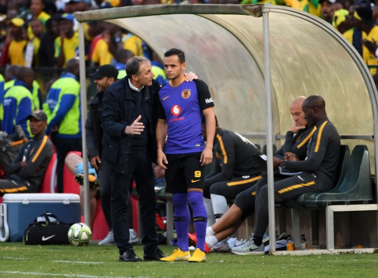 Giovanni Solinas (Coach of Kaizer Chiefs) and Gustavo Paez of Kaizer Chiefs during the Absa Premiership match between Mamelodi Sundowns and Kaizer Chiefs at Loftus Versfeld Stadium on August 04, 2018 in Pretoria, South Africa.