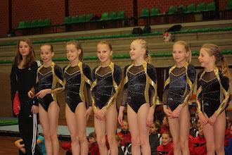 Photo: Jeugd A-team tijdens NK: Nienke (geblesseerd), Sietske, Yara, Eline, Chantal, Nikki, Indy