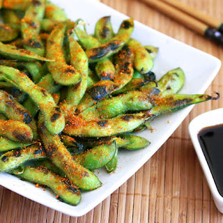 Spicy Grilled Edamame Snack.