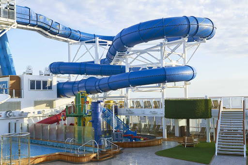 Families will enjoy the Aqua Park on Norwegian Joy.