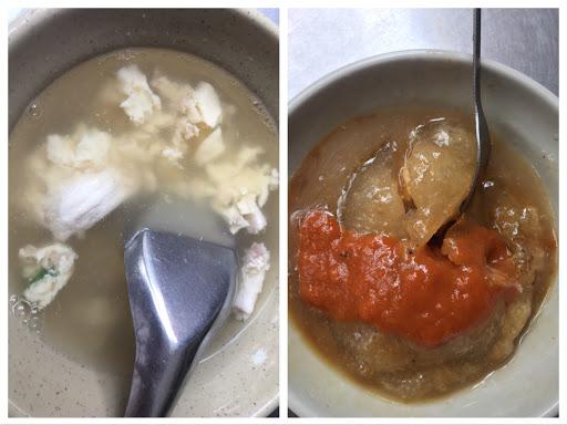 肉圓的口感不錯皮脆脆的裡面有滷蛋加上肉塊加上香菇一顆要價50 龍骨髓湯就是蒸蛋➕二三條的龍骨髓味道也不錯一小碗要價50 整體來說不錯吃就是蠻貴的⋯