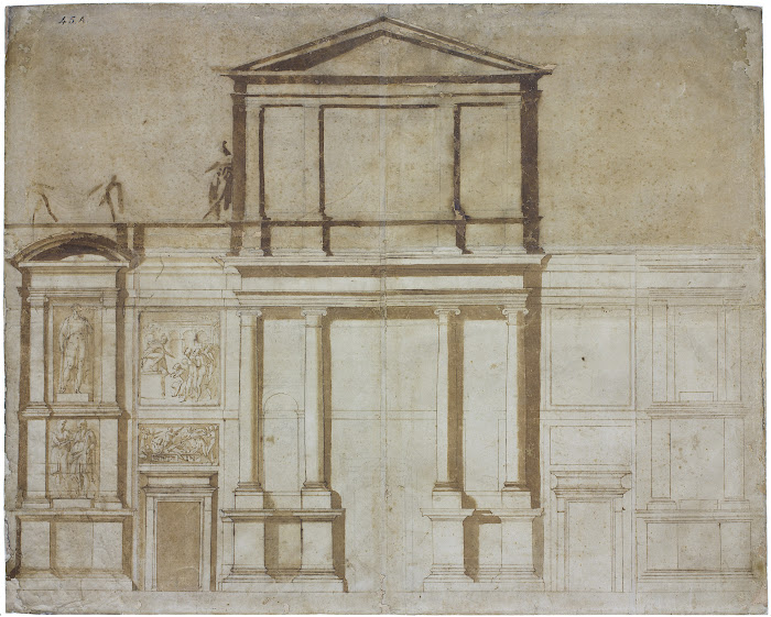 Michelangelo Buonarroti. Project for the Façade of San Lorenzo in Florence, 1516. Black chalk, pen and ink with brown wash. 724 x 870 mm. Casa Buonarroti, Florence, inv. 45A