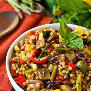 Israeli Couscous Salad with Mediterranean Roasted Vegetables.