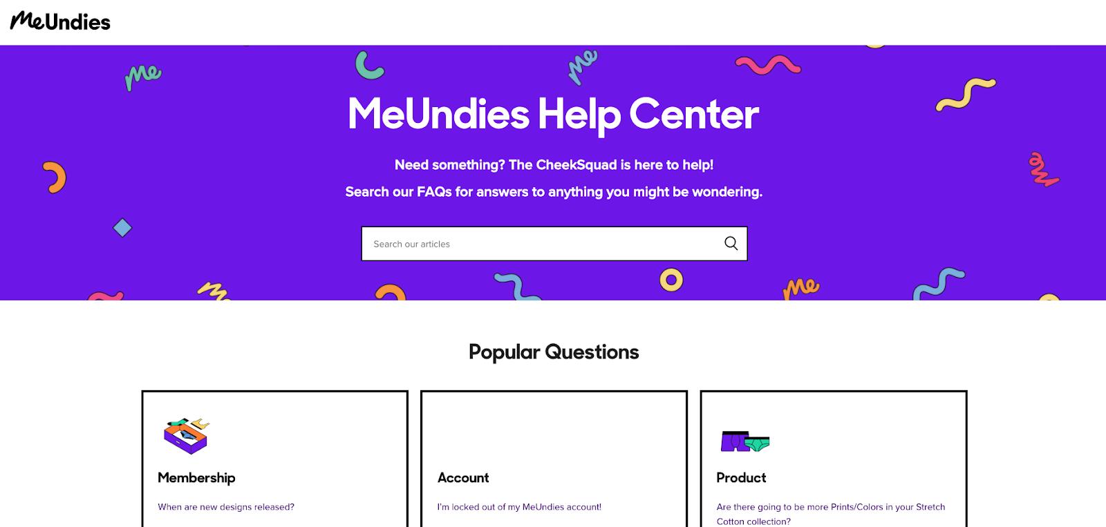 MeUndies Contact Page