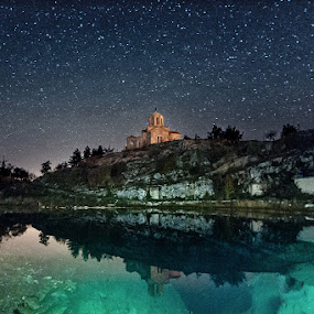Spring of the Cetina river by Zeljko Marcina - Landscapes Starscapes ( cetina, church, stars, croatia, night, river, , relax, tranquil, relaxing, tranquility )