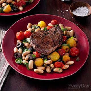 Beef Fillet with Puttanesca-Style Burst Tomatoes and White Beans