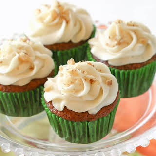 Carrot Cupcakes with White Chocolate Cream Cheese Frosting.