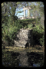 """Photo: The Hall of Waters and ruins of the old """"Nose Bleed"""" bridge."""