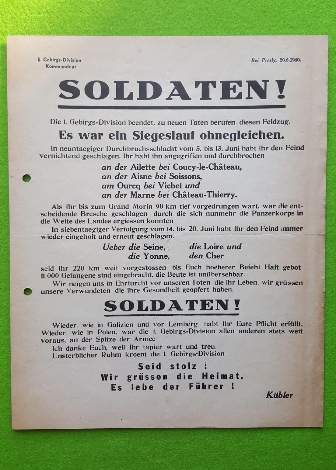 Flugblatt der Deutschen Wehrmacht - 20.6.1940