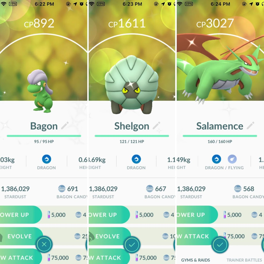 Shiny Bagon to Salamence.