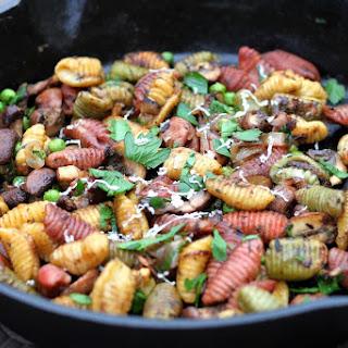 Toasty Truffle Gnocchi with Peas, Portabellas & Pecorino