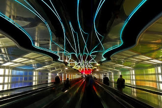 Photo: Neon Nights - O'Hare Airport, Chicago, IL. Part of my People set. I am sure many of you are familiar with the neon lights walkway and many have taken this shot. I wanted to try something a bit different. I added a slight fractalius effect to this photo (the first time I have ever really used it) to highlight the patterns and give it a painterly feel. I hope you like it. Have a great morning / afternoon / evening G+!