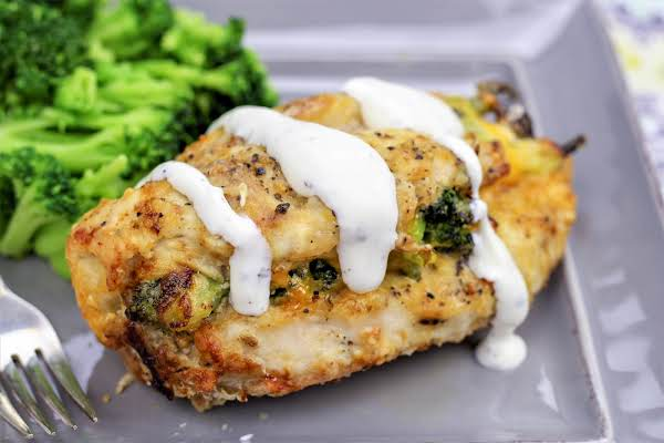 Air Fried Chicken Breast Drizzled With Ranch.