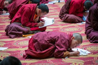 Photo: Debate exam at the main gompa.