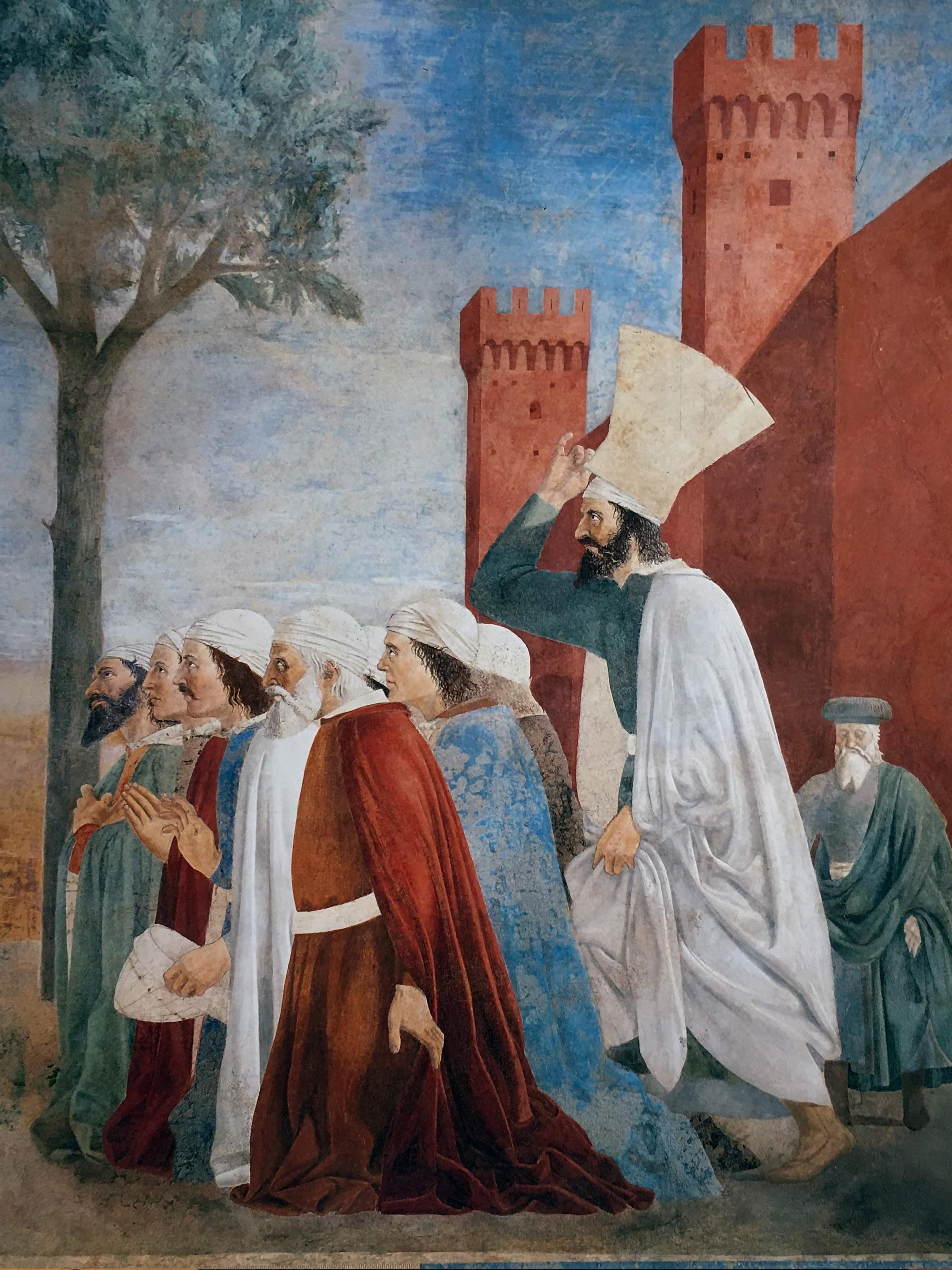Piero della Francesca, Le Storie della Vera Croce, Esaltazione della croce, (particolare, un gruppo di uomini si inginocchia davanti alla croce in venerazione)