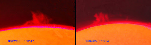 Photo: La stessa protuberanza vista a distanza di circa 4 ore