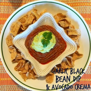Garlic Black Bean Dip & Avocado Crema