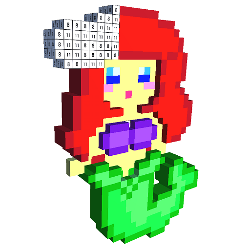 Mermaid 3D Color by Number - Voxel Coloring Book Icon