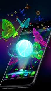 3D Neon Butterfly Theme- screenshot thumbnail