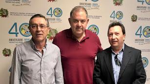 Fernando Rubio (Almanzora), Lucas Jiménez (Sindicato Central del Acueducto Tajo-Segura) y José Antonio Fernández (Mesa del Agua de Almería).