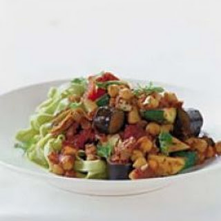 Spinach Fettucine With Eggplant & Chickpeas