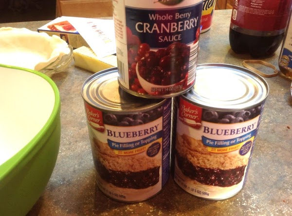 Add both cans of the blue berry pie filling and whole berry cranberry sauce...