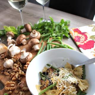 Date Night Bowtie Mushroom Pasta with Basil Walnut Pesto