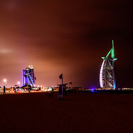 Burj Ala Arab & Jumeira Beach Hotel by Zulfikar Khan - City,  Street & Park  Skylines ( mydubai, dubai, jumeira hotel, burj al arab, cloudy, long exposure, night, architecture, beach, evening, nightscape )