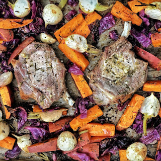 Sheet Pan Pork Chops with Sweet Potatoes, Cabbage and Turnips.