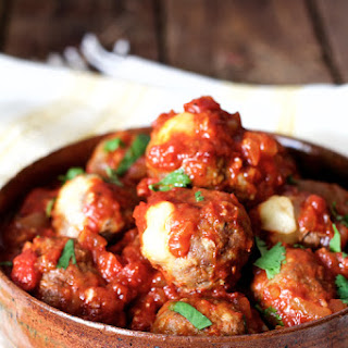 Pepper Jack-Stuffed Meatballs with Chipotle Sauce