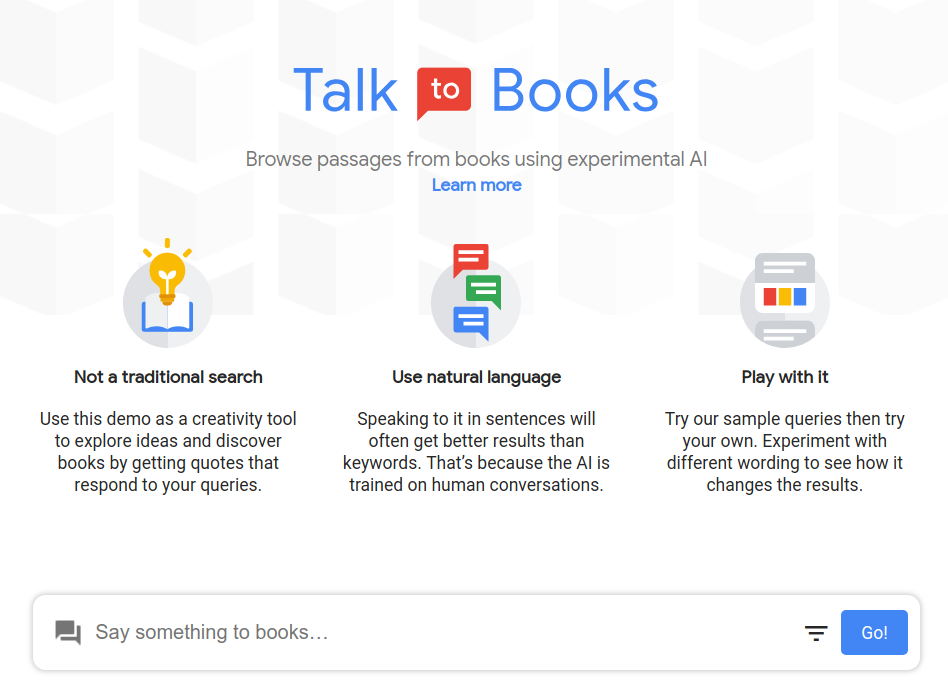 Talk to Books by Google AI | Experiments with Google