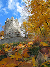 Photo: Stone castle in an autumn forest and fallen leaves at Hills and Dales Metropark in Dayton, Ohio.