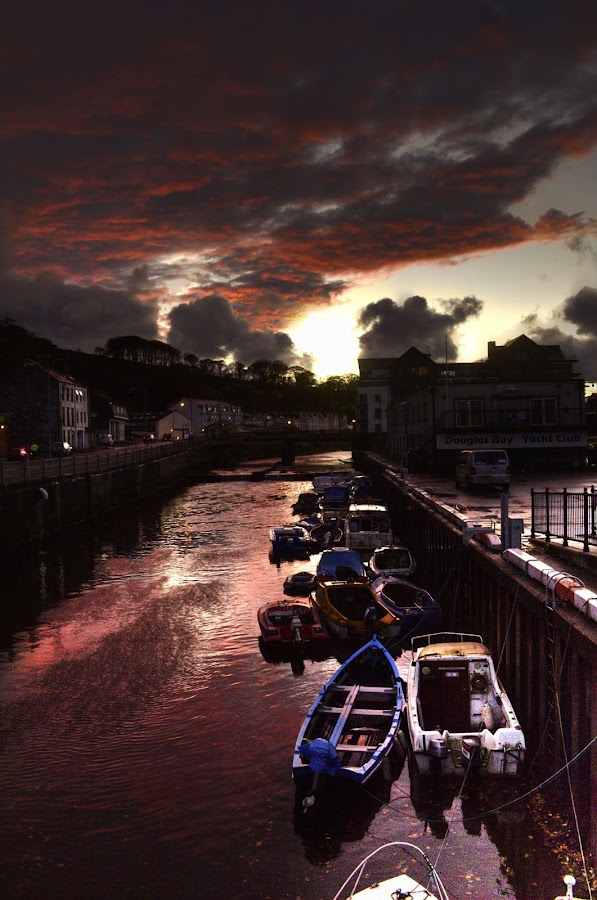 Sunset over the Inner Harbour by Claire S - Landscapes Sunsets & Sunrises ( clouds, red, douglas, sunset, harbour, isle of man, pink, boat )