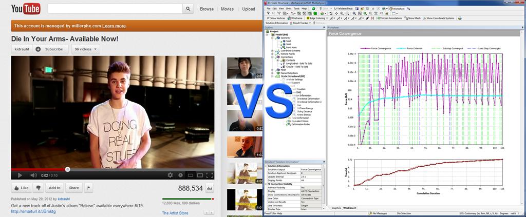 ANSYS Во время проведения длительных расчётов у вас есть выбор: смотреть какие-нибудь ролики на YouTube или наблюдать за графиками сходимости