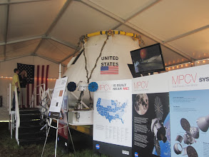 Photo: Orion Crew Module and posters in the Lockheed-Martin tent  at Press Site near Launch Pad 39A at Kennedy Space Center, STS-35 Space Shuttle blast off!  Cape Canaveral, Florida.