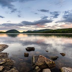 Eagle Lake Sunset by Greg Croasdill - Landscapes Sunsets & Sunrises ( reflection, maine, sunset, acadia, lake )