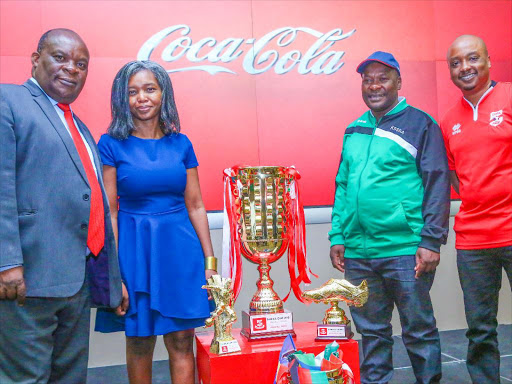MoE's Patrick Khaemba, Coca-Cola's Beatrice Nyamari, KSSSA's Peter Orero and Coca-Cola's Rodney Nzioka during the launch / CONSOLATA MAKOKHA