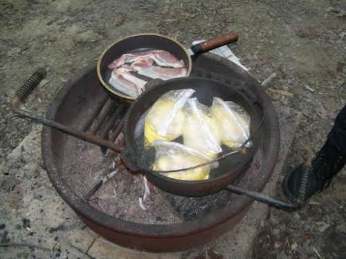 "Campfire Breakfast Burritos ""We love to camp, and cooking over the campfire...."