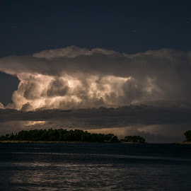 Nuclear explosion over the sea by Jernej Lipovec - Landscapes Weather ( sony, lightning, adriatic, explosion, weather, sea, storm )